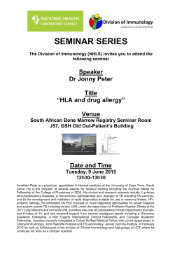 SEMINAR SERIES The Division of Immunology (NHLS