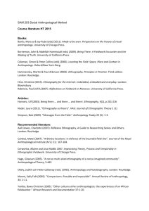 SAM 203 Social Anthropological Method Course literature HT 2015