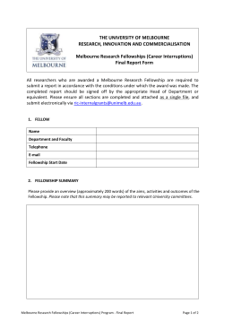 Melbourne Research Fellowships (Career Interruptions)