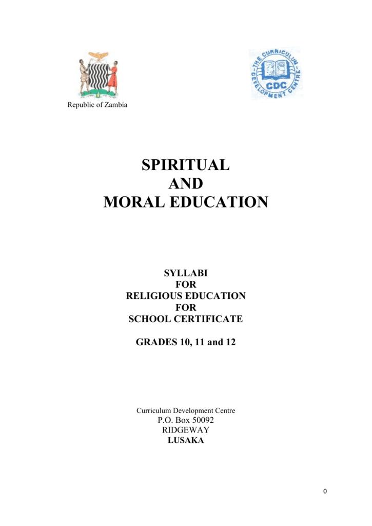 Religious Education Syllabus Grade 10 12