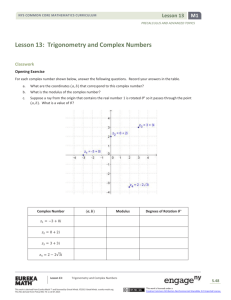 Lesson 13: Trigonometry and Complex Numbers