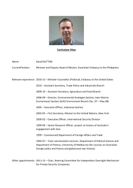 Curriculum Vitae Name: David DUTTON CurrentPosition: Minister