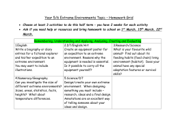 Year 5/6 Extreme Environments Topic – Homework Grid Choose at