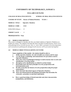 Operative Dentistry Syllabus Year 1