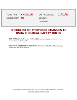 checklist of proposed changes to osha chemical safety rules
