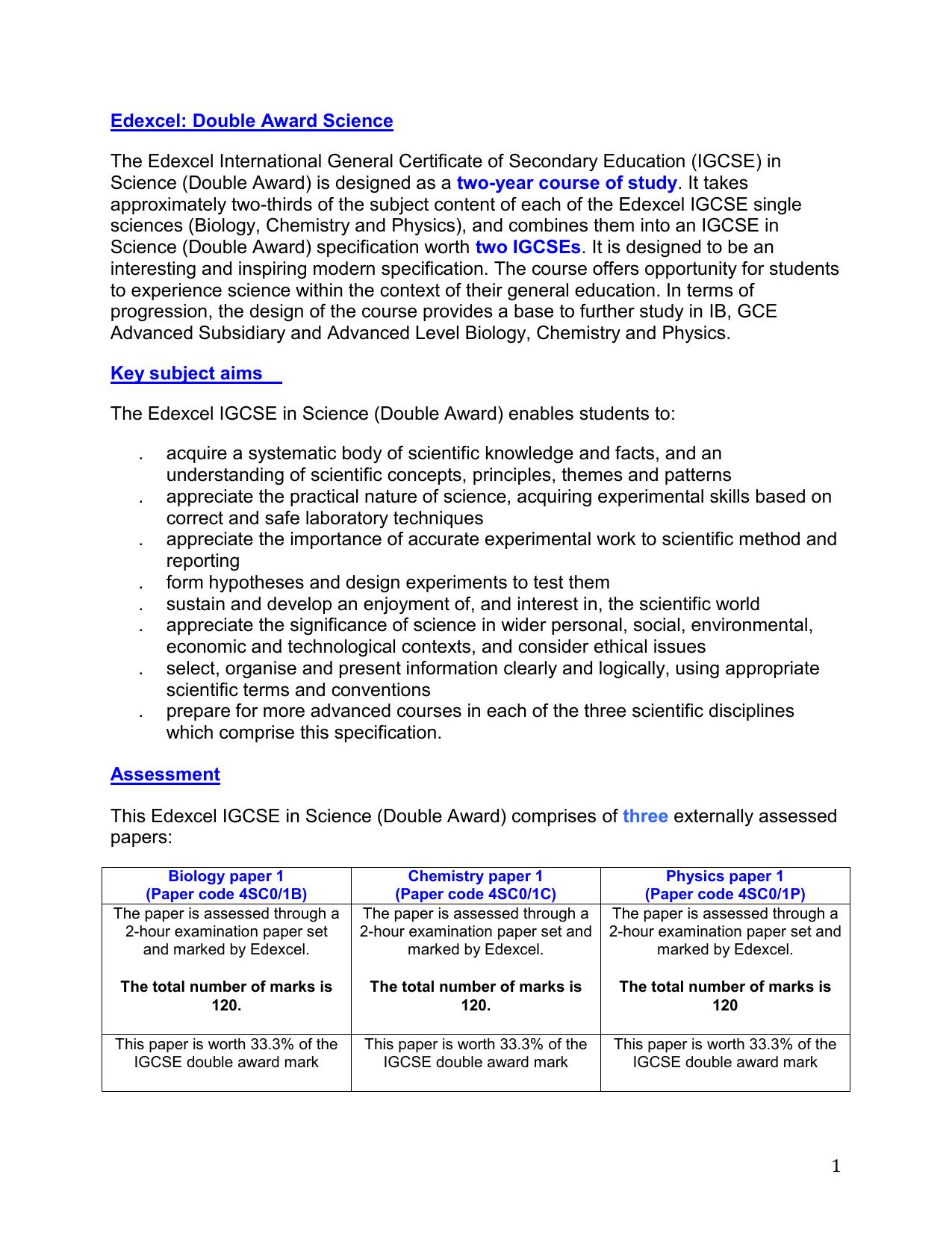 IGCSE- Overview of Edexcel Science