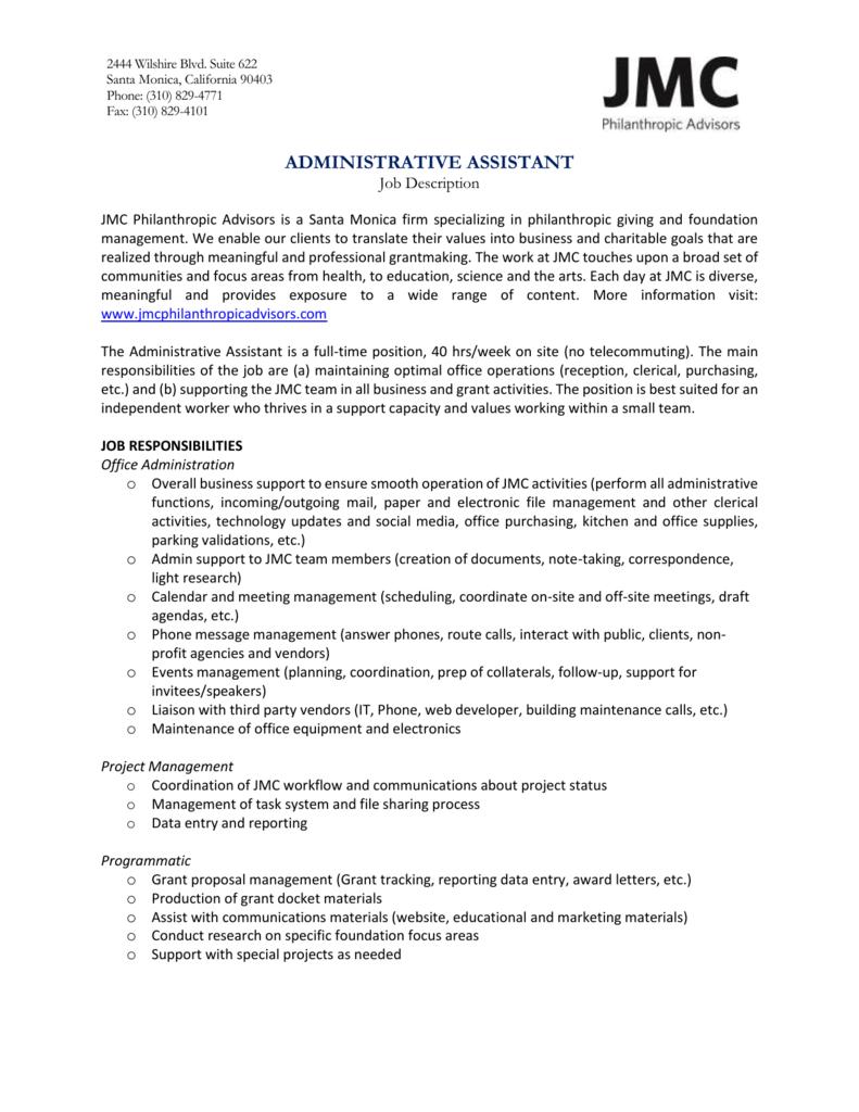 Job Description Administrative Assistant 2015