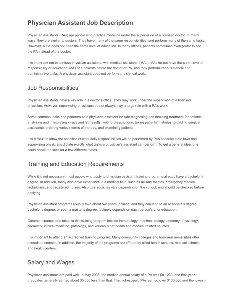 Physician Assistant Job Description