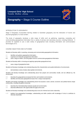 Geography ~ Stage 5 Course Outline