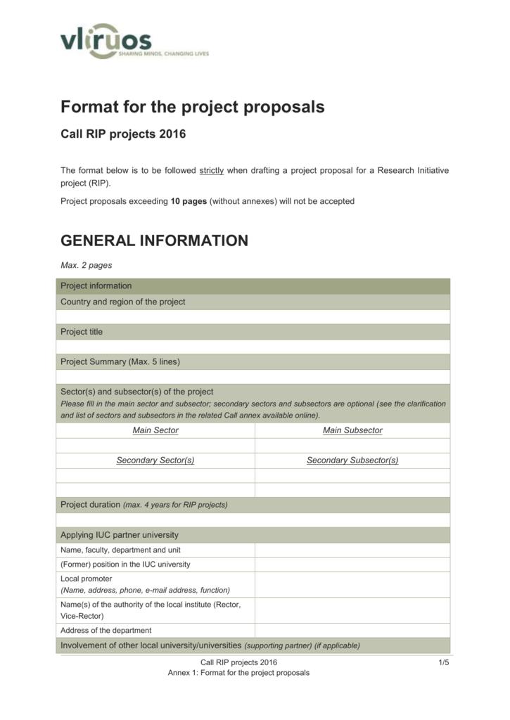 Annex 1: Project proposal - VLIR-UOS