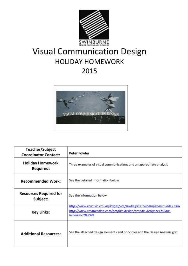 Visual Communication And Design Holiday Homework 2015
