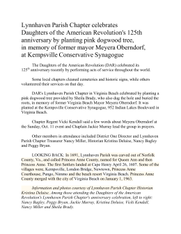 The Daughters of the American Revolution (DAR) celebrated its