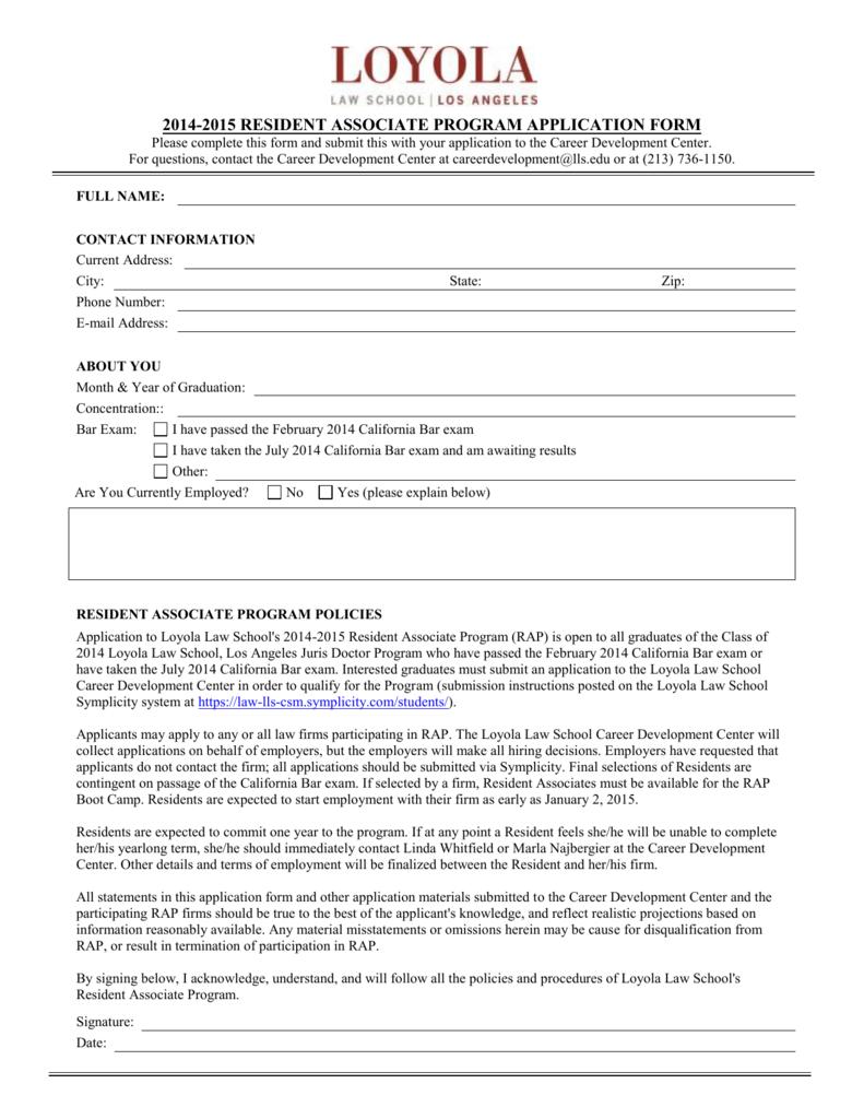 2014-2015 RESIDENT ASSOCIATE PROGRAM APPLICATION