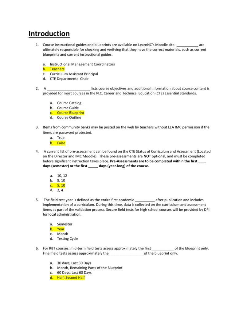 Cte statewide assessment manual test questions malvernweather Choice Image