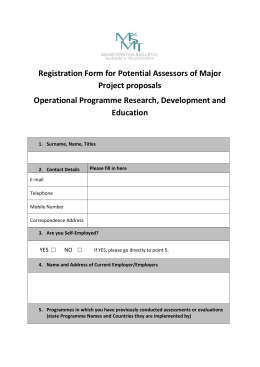 Registration Form for Potential Assessors of Major Project proposals