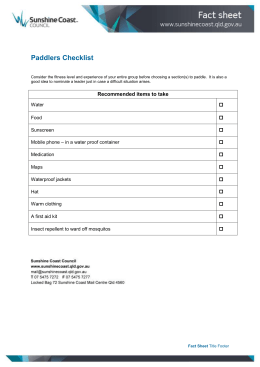 Paddlers Checklist - Sunshine Coast Council