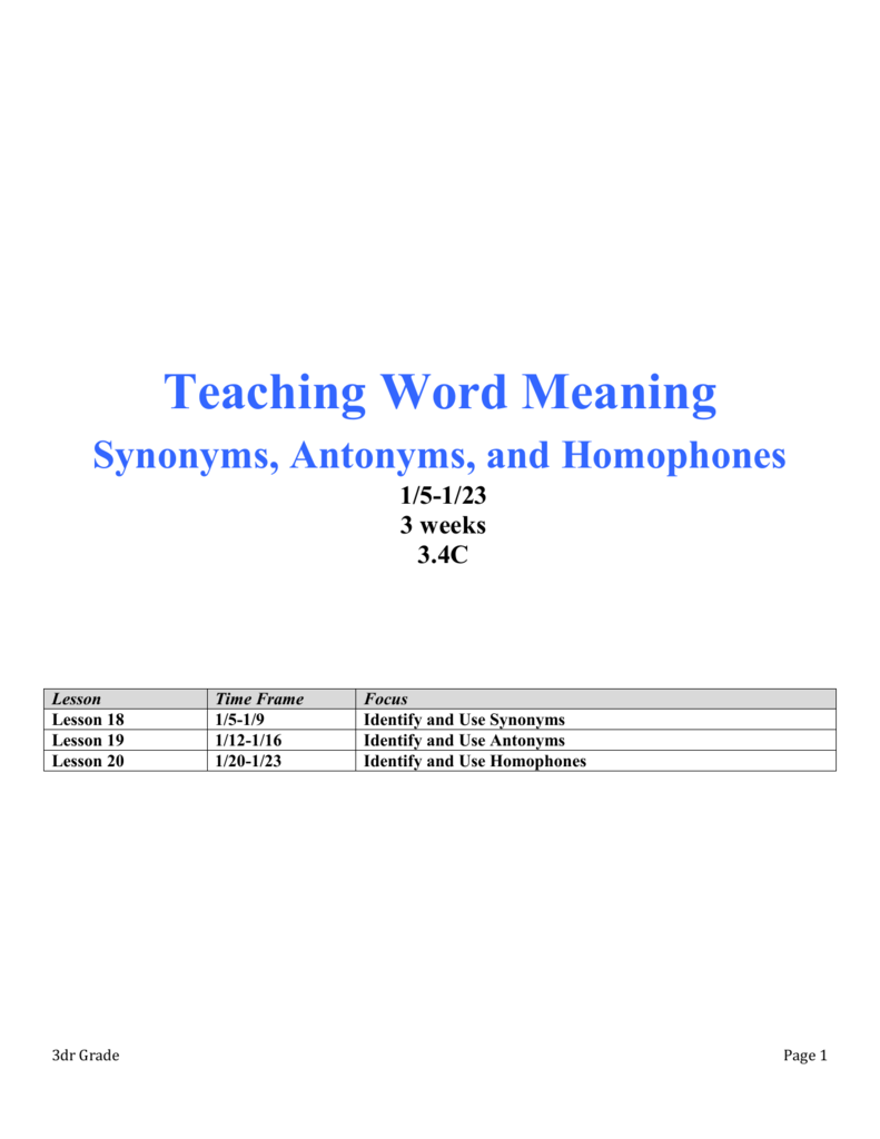 Teaching Word Meaning