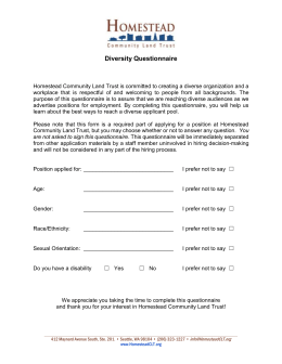 Diversity Questionnaire - Homestead Community Land Trust