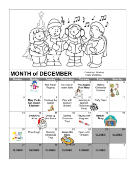 Monkey Classroom - December Calendar