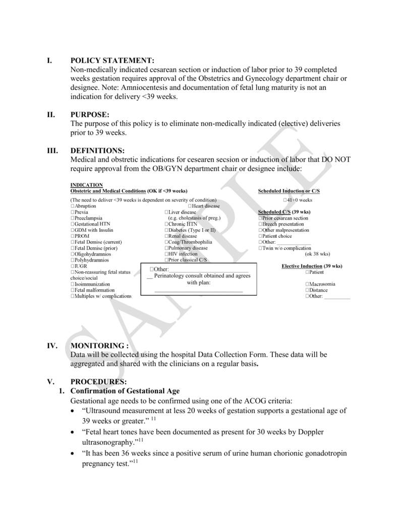 Sample C-section/Induction Scheduling Policy