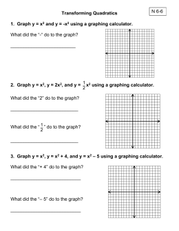 2. Graph y = x 2 , y = 2x 2 , and y = x 2 using a graphing