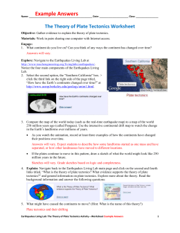 The Theory of Plate Tectonics Worksheet Example Answers