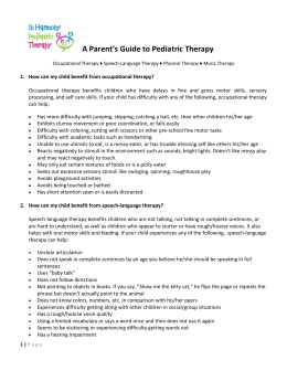 A Parent`s Guide to Pediatric Therapy