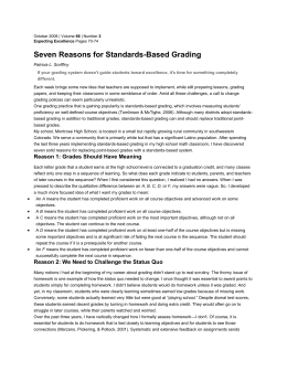 Seven Reasons for Standards-Based Grading