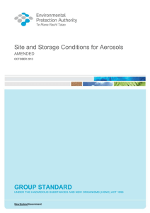 Site and Storage Conditions for Aerosols
