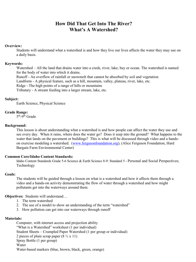 Uncategorized Watershed Worksheet watershed worksheet termolak whats a lesson plan by kirk steffensen
