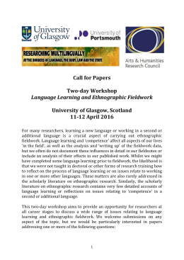 Call for Papers – Language Learning & Ethnographic Fieldwork