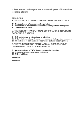 3.2 Transnational corporations and agriculture