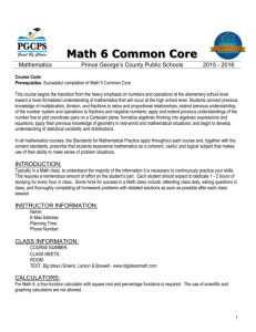 Prerequisites: Successful completion of Math 5 Common Core