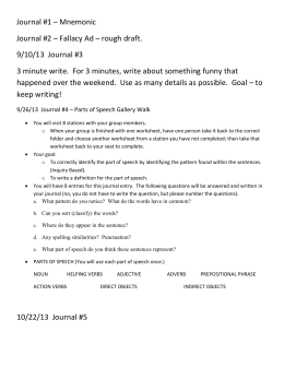 Journal #1 – Mnemonic Journal #2 – Fallacy Ad – rough draft. 9/10