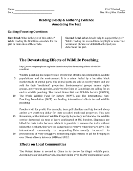 Devestating Effects of Wildlife Poaching
