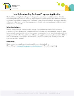 Health Leadership Fellows Program Application