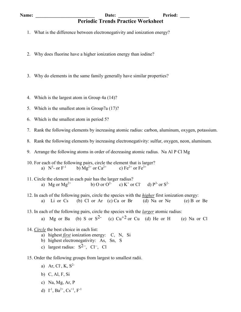 Periodic Trends Atomic Radius Worksheet Answer Key ...