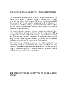 The Environmental Committee Mission Statement 2013