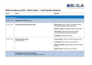 BUILA Conference 2014 - `What`s Next?` – Draft Speaker Schedule
