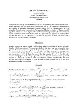 beal conjecture The beal conjecture solution is worth $1 million the beal conjecture is associated with a math equation that has remained unsolved for 350 years fermat's last theorem has been frustrating.