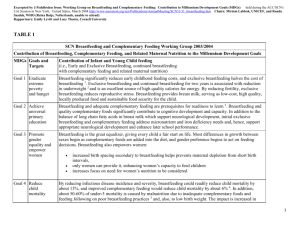 UN SCN BF and Complementary Feeding Working Group MDG Mar 2004