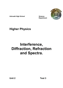 Interference, Diffraction, Refraction and Spectra