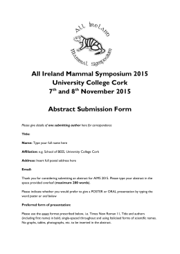 AIMS2015 Abstract Form - University College Cork