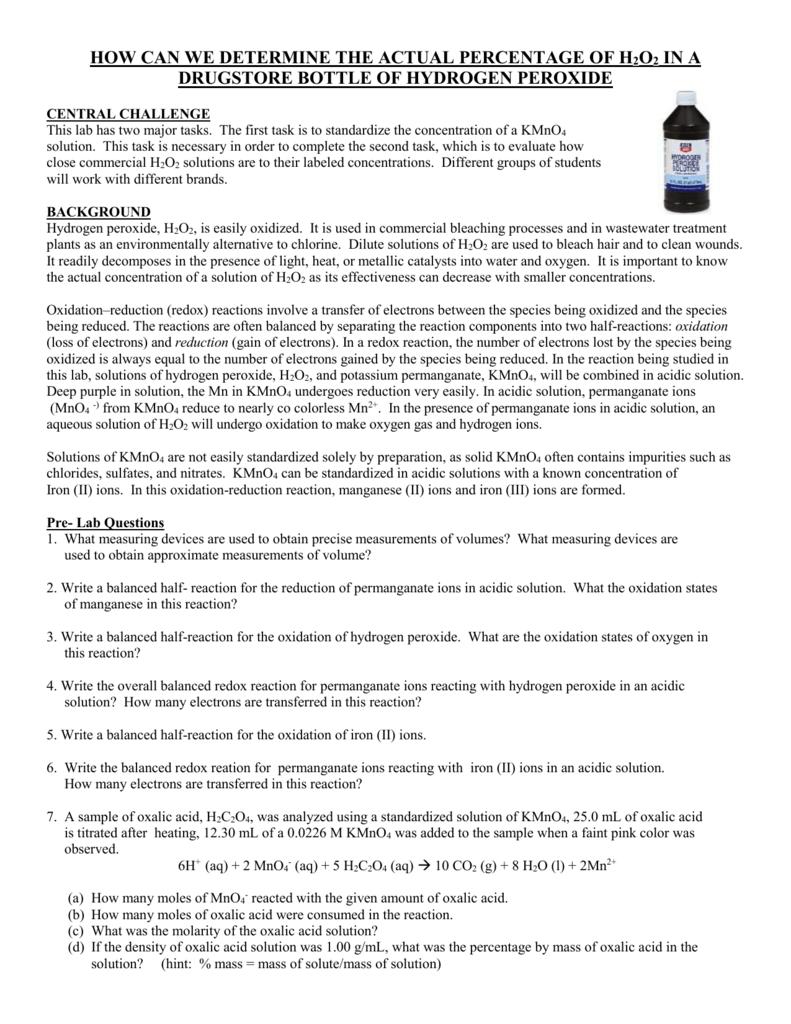 Determining % of Hydrogen Peroxide