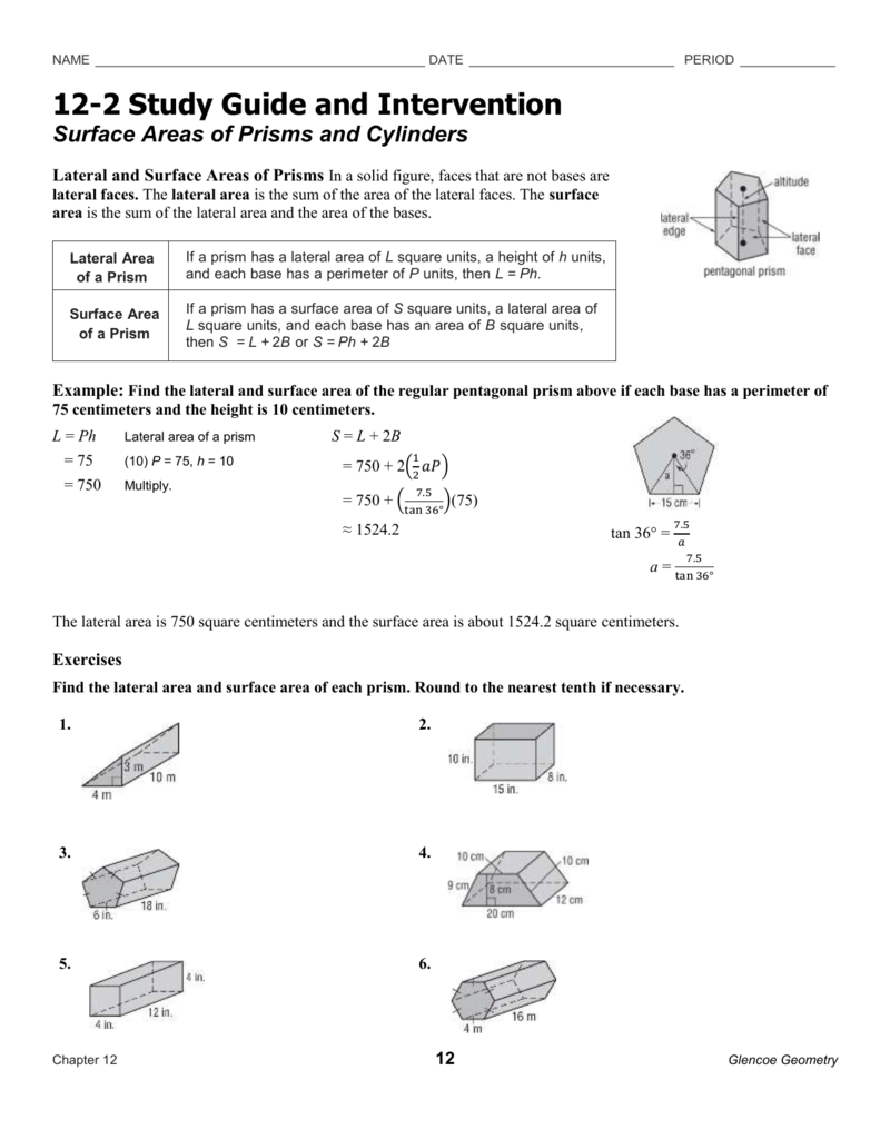surface areas of prisms and cylinders rh studylib net study guide and intervention geometry answer key chapter 4 study guide and intervention answers geometry 5-1