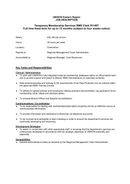 Temporary Membership Services Rms Clerk