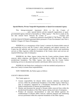 Sample Intergovernmental Agreement (Government & Special District)