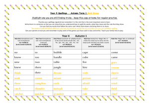 Year 4 spellingsAutumn1overview2015GOLDGROUP