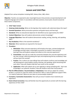 APS Lesson Plan and Unit Plan