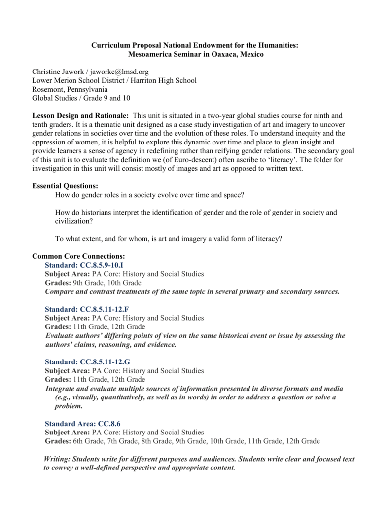 Curriculum Proposal National Endowment For The Humanities